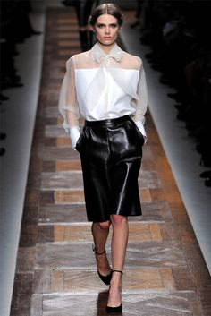 Valentino - you can never go wrong with a great white blouse and black skirt.