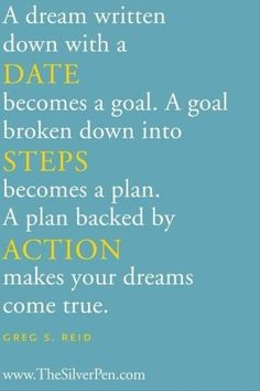 A dream written down with a date becomes a goal.  A goal broken down into steps becomes a plan.  A plan backed by action makes your dreams come true.
