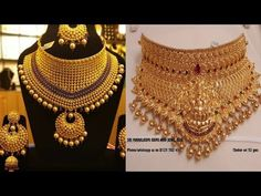 Gold Chocker Necklace, Gold Choker, Chokers, Bridal Necklace, Indian Gold Necklace Designs, Pearl Necklace Designs, Gold Bangles Design, Gold Jewellery Design, Gold Wedding Jewelry