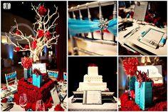 Blue & red wedding reception decor | jenniferskog.com | pmastyle.com