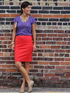 Dressed up: purple tee with a tomato red pencil skirt. Maternity Work Clothes, Maternity Wear, Maternity Fashion, Maternity Styles, Office Outfits, Casual Outfits, Modest Outfits, Skirt Outfits, Summer Outfits