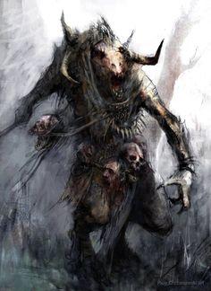 Beastman warrior by chrzan666 on DeviantArt