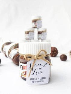 N U T E L L A G I V E A W A Y TAGS / B O N B O N N I E R E - Handmade give away/bonbonniere tags that fit a mini nutella jar perfectly! Made using smooth white matte paper and twine. These can be made for any occasion and the words can be customised to whatever you like!