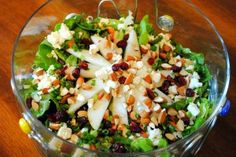 Spinach Salad with Pears, Cranberries, and Roasted Almonds