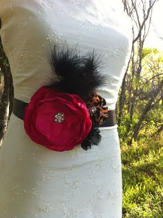 Maxi- Bridal Bouquet Sash Belt FUSCHIA, Black and Leopard Print Blossom with feathers.. Available in many colors...