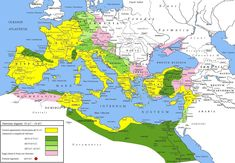 A map of the Roman Empire during the reign of Augustus 27 BCE - 14 CE. Yellow areas indicate the empire prior to Augustus' reign, green areas those gained subsequently, violet areas are client states of Rome. Ancient Rome, Ancient History, European History, Ancient Aliens, Ancient Greece, American History, European Tribes, Ancient Map, Battle Of Alesia