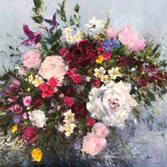 Available for sale, All The Flowers, stunning oil on canvas painting by Heidi Shedlock, size 100 x 100 x 5 cm. Floral Paintings, Oil Paintings, Oil On Canvas, Floral Wreath, Art Gallery, Artist, Flowers, Instagram, Sculptures