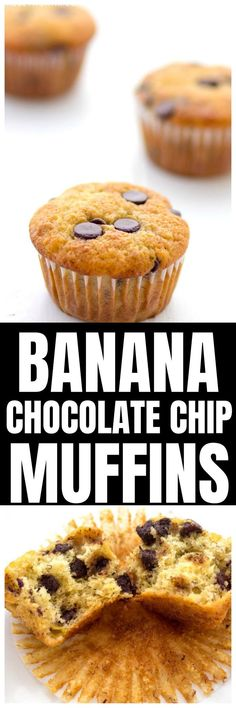 These banana chocolate chip muffins are bursting with rich chocolate flavor and sweet banana flavor! Delicious Breakfast Recipes, Savory Breakfast, Breakfast Bake, Delicious Desserts, Tart Recipes, Muffin Recipes, Cupcake Recipes, Bread Recipes, Tasty Bread Recipe