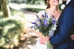 Bridal bouquet in blues and whites