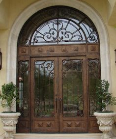 Wrought iron front door glasses 42 New ideas Exterior Doors With Glass, Exterior Front Doors, Entrance Doors, Main Entrance, Iron Front Door, Glass Front Door, Glass Doors, Wrought Iron Doors, Front Door Design