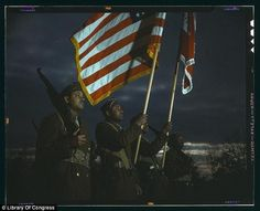 Flag bearers: A guard of engineers believed to be at Fort Belvoir in Virginia (Between 1941 and 1945)