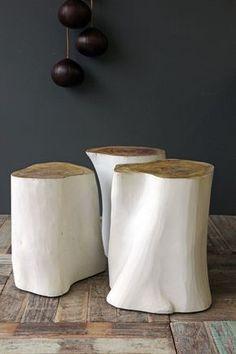 Home Decor Bohemian painted tree stump stools.Home Decor Bohemian painted tree stump stools