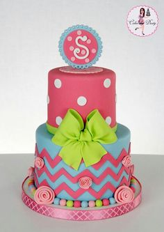 Monogrammed, polka dot & chevron party cake with lime green bow. Pretty Cakes, Cute Cakes, Beautiful Cakes, Amazing Cakes, Bow Cakes, Fondant Cakes, Cupcake Cakes, Chevron Cakes, Polka Dot Cakes