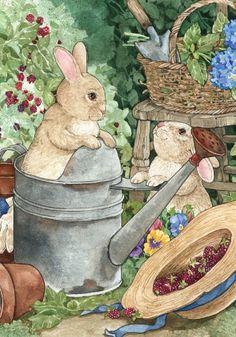 Bunny Mischief Garden Flag - Easter Garden Decorations From: Squidoo, please visit Beatrix Potter, Evans Art, Decoupage, Easter Garden, Rabbit Art, Rabbit Garden, Bunny Art, Thomas Kinkade, House Flags