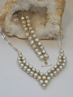 "From our Wedding Collection. A romantic handmade pearl necklace made with 38 matching Mabe Pearls, set in 925-hallmarked sterling silver. Matching bracelet available separately. Length: 14-16"" with ad"