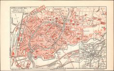 An poster sized print, approx mm) (other products available) - Historical city map of Strasbourg - capital and largest city of Alsace, France. Lithograph, published in - Image supplied by Fine Art Storehouse - poster sized print mm) made in the UK Old Maps, Antique Maps, Antique Prints, Fine Art Prints, Framed Prints, Canvas Prints, Framed Wall, Poster Size Prints, Vintage World Maps