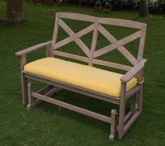 Patio Wood Glider Bench Outdoor Furniture Garden Deck Yard Porch Chair Rocker #WestLake