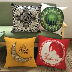 High Quality Islam Muslim Religion Datura Flower Pattern Cushion Cover East Ramadan Cotton Linen Throw Pillowcase Square KDT1243