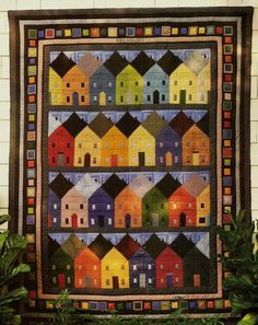 Row Houses Log Cabin Block Vintage Quilt Pattern | eBay                                                                                                                                                     もっと見る