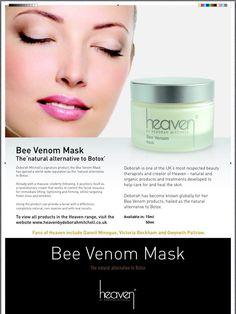 Bee Venom Mask, the natural alternative to Botox. www.heavenskincareusa.com