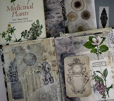 Using photocopies, vintage book cut outs and collected papers in handmade book (work in progress) by paperampersand