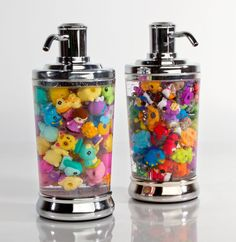 Want to encourage hand washing?  Put some Squinkies in your soap dispenser and tell your kids they can have them when it's empty!  (Plus they look SUPER cool!)
