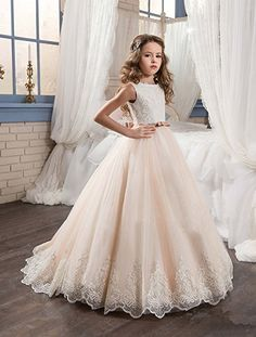 Ivory Long Lace Flower Girl Dresses Champagne Less Party Dress KissAngel (12, White &Champagne)