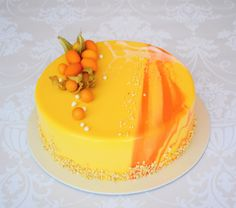 yellow& orange mirror cake by Vargasz