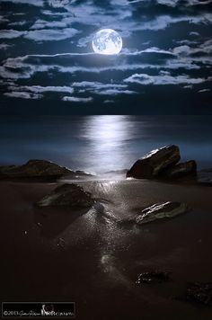 Moonrise over rocks, life is gray without moonlight