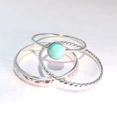 Turquoise Rings Turquoise Stacking Set Boho by AWildViolet on Etsy