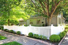 Early 20c. Houston historic cottage on corner lot in one of Houston's first suburbs, which is now just two miles outside downtown. White picket fence wraps around front of house. Tall matching gray lattice encloses side and back yards.