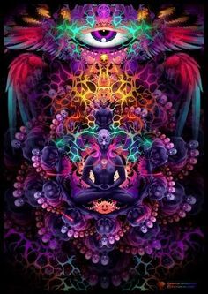 """astralrodney: """" """"The third eye chakra is about inner vision and experience on the subtle planes such as dreams, meditations and astral projection."""" Do you want a regular dose of awesome Astral. Psychedelic Art, Psy Art, Astral Projection, Mystique, Visionary Art, Sacred Art, Art Design, Third Eye, Fractal Art"""