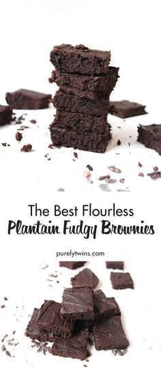 The BEST Flourless Fudgy Chocolate Brownies - naturally gluten-free, grain-free and made without beans and eggs! Brownie recipes that are chewy and irresistible! These moist, dense and fudgy Flourless Plantain Brownies will convert you even if you aren't Flourless Chocolate Brownies, Fudgy Brownie Recipe, Healthy Brownies, Brownie Recipes, Cookie Recipes, Paleo Sweets, Paleo Dessert, Gluten Free Desserts, Vegan Desserts