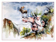 Herbst in Norwegen    2011, Aquarell auf Torchon Vang 30x40cm    inspiriert von Ivar Rodningen