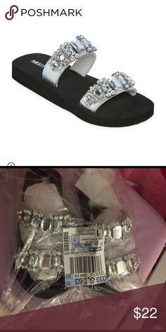 Mixit® Double-Strap Chunky Sandals The rhinestones on our chunky sandals will help add a little flair to your everyday footwear. polyurethane upper rhinestones low, flat heel synthetic sole spot clean imported mixit Shoes Sandals