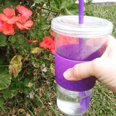 Drinking water on morning walk.
