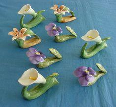 Set of 8 Bone China Flower Napkin Hoders by chalcroft on Etsy, $38.00
