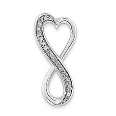 14K White Gold Diamond Freeform Heart Chain Slide ** Check this awesome product by going to the link at the image.