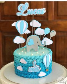 Torta Baby Shower, Elephant Baby Shower Cake, Baby Shower Cakes For Boys, Baby Boy Cakes, Baby Shower Decorations For Boys, Boy Baby Shower Themes, Baby Shower Balloons, Baby Shower Fun, Baby Shower Centerpieces