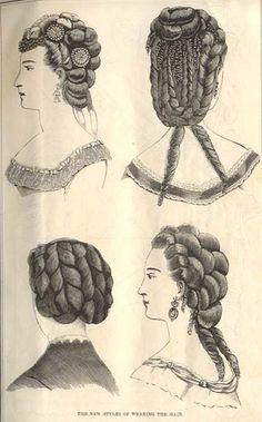 """new styles for wearing the hair"" - January 1870 issue of Peterson's Magazine. via Festive Attyre; click ""Index"" for further information and more images."