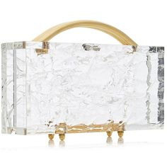 L'Afshar Medium Eugene Clear Crushed Ice Clutch (€805) ❤ liked on Polyvore featuring bags, handbags, clutches, lucite purse, acrylic purse, clear acrylic purse, lucite handbags and white clutches