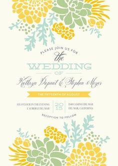 Pretty Floral Wedding Invitation.