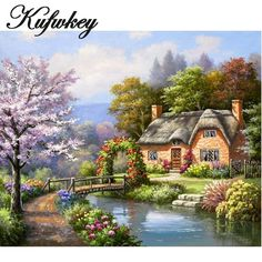 Global Gallery 'Spring Creek Cottage' by Sung Kim Original Painting on Wrapped Canvas Size: Cross Paintings, Original Paintings, Cheap Paintings, Art Paintings, Cottage Canvas Art, Belle Image Nature, Spring Desktop Wallpaper, House Landscape, Thomas Kinkade