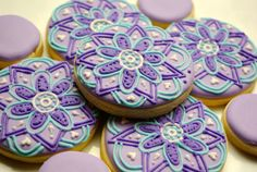 Decorated sugar cookies~ Funky Flowers by iBakery on Etsy, Purple, pink, green