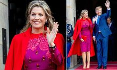 Queen Maxima of the Netherlands dons bold outfit in Amsterdam She Is Gorgeous, Color Blocking, Colour Block, Queen Maxima, Royal Fashion, Red Purple, Style Icons, Netherlands, Amsterdam