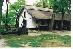 The isolated farm (tanya) is the traditional style of housing on the Great Plain of Hungary. Agricultural Buildings, Heart Of Europe, Great Plains, Maine House, Countryside, Farmhouse, Cottage, Neon, Traditional