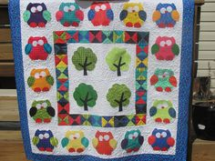 Colcha búhos. Owl Baby Quilt.