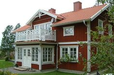 Sweden House, Red Houses, Sims Building, Enclosed Porches, Luxury Rooms, House Goals, Cottage Homes, House Front, Interior And Exterior