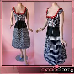 Vintage 70s Fab Polka Dot Red Ruffle Dutch Lace Front Scoop Neck Dress #vintagedress #retro  http://www.ebay.co.uk/itm/Vintage-1970s-Fab-Polka-Dot-Red-Ruffle-Dutch-Lace-Front-Scoop-Neck-Dress-UK20-/371618076628?ssPageName=STRK:MESE:IT