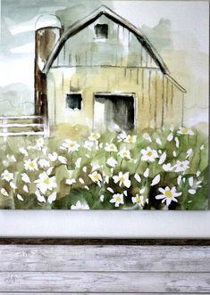 My farmhouse barn painting Farmhouse Artwork, Farmhouse Paintings, Farm Paintings, Canvas Paintings, Watercolor Barns, Watercolor Paintings, Watercolors, Farm Tables, Wood Tables
